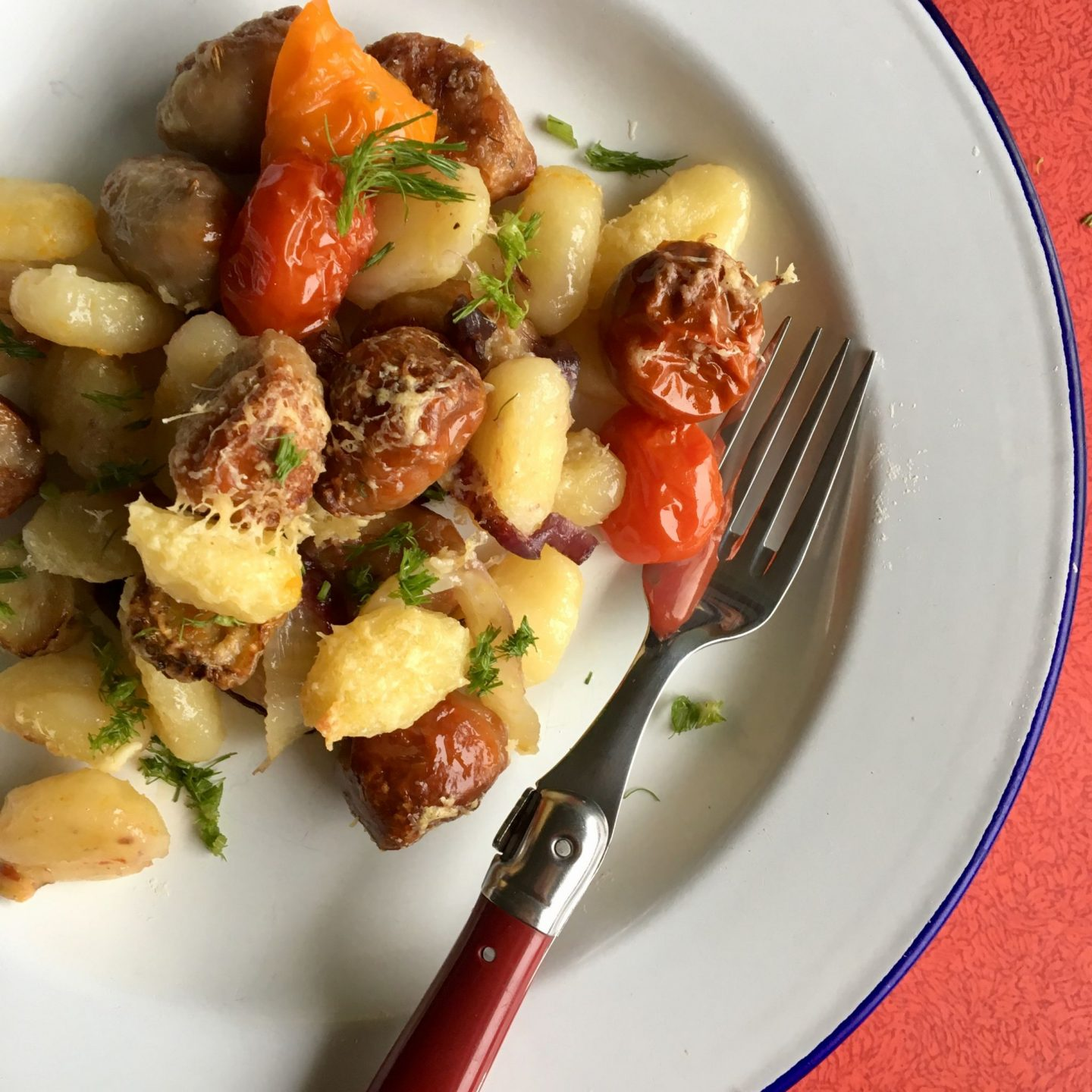 Roasted Gnocchi With Sausage And Cherry Tomatoes