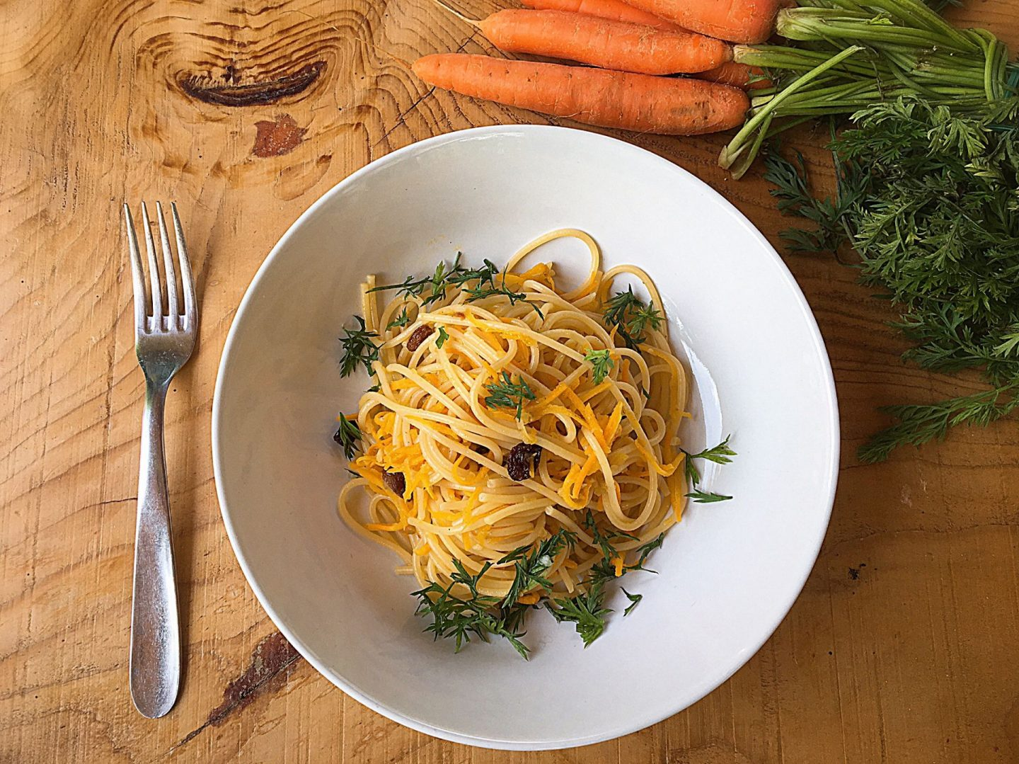 Spaghetti with agrodolce carrots